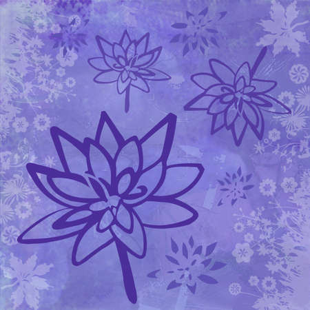 Background Illustration with Lotus Flowers in Purple Violet Colors 写真素材