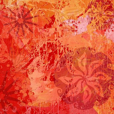 Abstract Background, Illustration of Flower Mandalas in Orange