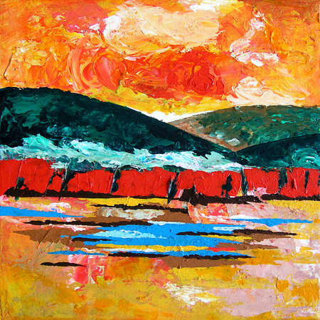 Illustration from original hand drawn Artwork - Abstract Landscape with mountains, fields and sunset in red green and orange Colors