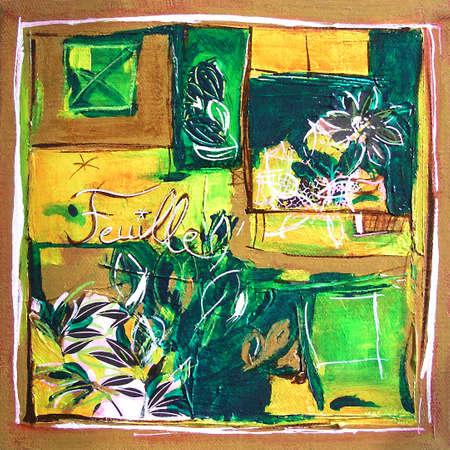 Foliage Original Painting, Modern Illustration - Mixed Media Collaeg - Yellow and Green Colors 写真素材