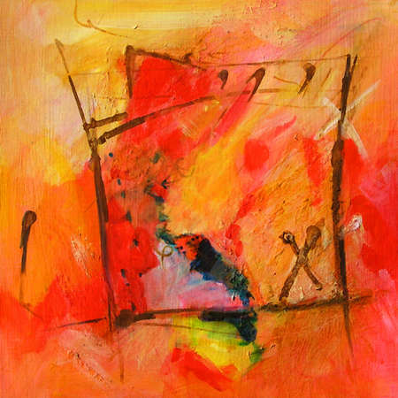Modern Abstract Art - Calligraphy / Graffiti. Original Contemporary Painting - Red and Orange Colors
