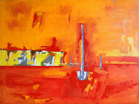 Illustration from original hand drawn Artwork - Abstract Landscape with Boat, Coast, Ocean and Sunset in orange Colors