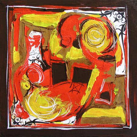 Arabesque Original Painting, Modern Illustration - Mixed media Collage