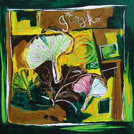 Ginkgo Leaves Painting, Modern Illustration - Yellow and Green Colors