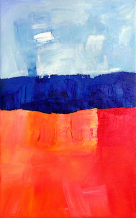 Modern Abstract Art, Painting showing an Ocean Landscape in Blue Orange Colors