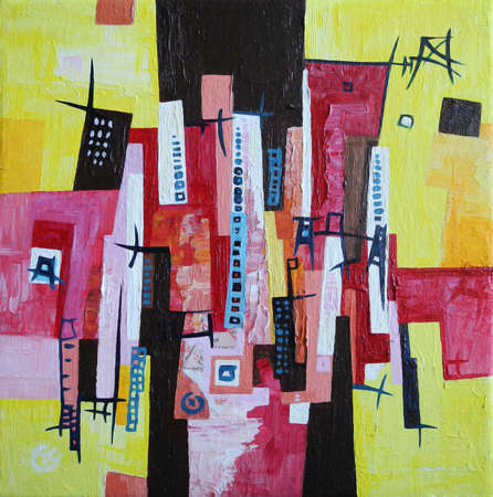 Modern Abstract Painting, Skyline City in Red, Yellow and Black Colors, from Original Artwork 写真素材