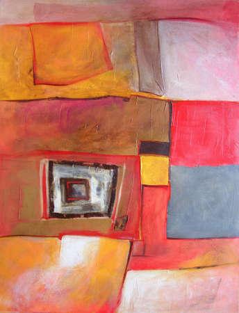 Modern Abstract Landscape Painting - Geometric - Original Artwork in Orange / Brown Colors