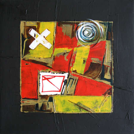 Graffiti and Squares Painting, Modern Illustration - Bold Frame - Red, Yellow and Black