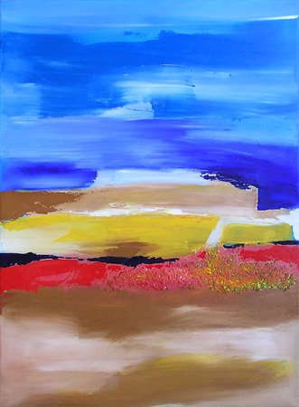 Modern Abstract Art, Painting showing an Ocean and Island Landscape in Blue and Beige Colors 写真素材