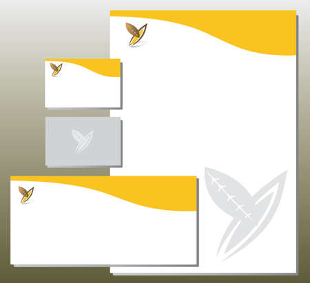 Corporate Identity Set - Foliage in Y Letter Shape - Orange and Gray Colors. Contains Letterhead, Business Card and Info Card Templates - Vector