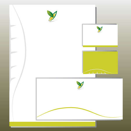 Corporate Identity Set - Foliage in Y Letter Shape - Green Colors. Contains Letterhead, Business Card and Info Card Templates - Vector 向量圖像