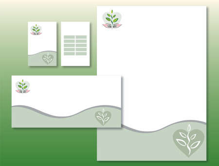Corporate Identity Set - Plant / Hands / Heart. Contains Letterhead, Business Card and Info Card Templates - Vector Illustration