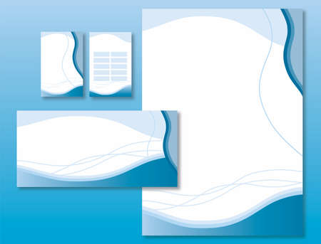 Corporate Identity Set - Waves and Curves Pattern in Blue Colors - Vector