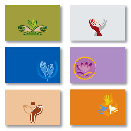 Set of 6 Business Cards in Various Colors. Sprituality, Energy, Lotus Flower and Hands Patterns