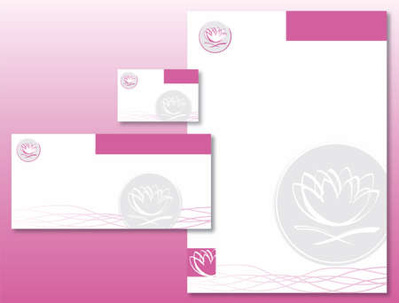 Corporate Identity Set - Lotus Flower Pattern in Pink and Gray. Contains Letterhead, Business Card and Info Card Templates - Vector Illustration