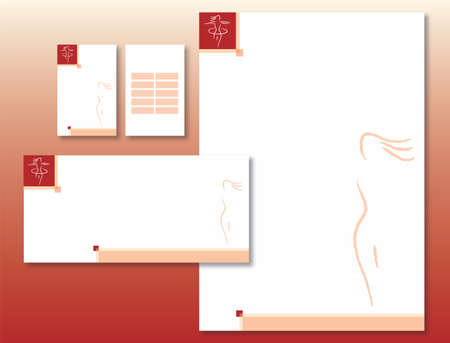 Corporate Identity Set - Woman Body Icon in Red. Contains Letterhead, Business Card, Schedule Card and Info Card Templates - Vector