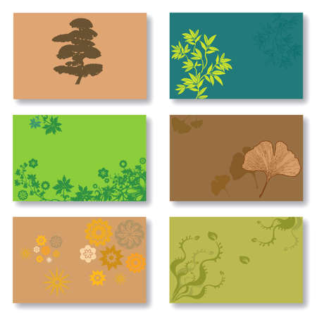 Set of 6 Business Cards in Green and Brown. Vegetal and Floral Patterns. Available in Vector Format
