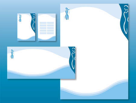 Corporate Identity Set - Woman Body Icon in Blue. Contains Letterhead, Business Card, Schedule Card and Info Card Templates - Vector