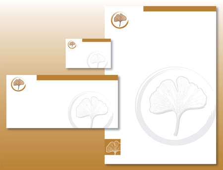 Corporate Identity Set - Ginkgo Leaf in Gold / Brown and Gray. Contains Letterhead, Business Card and Info Card Templates. Available in Vector