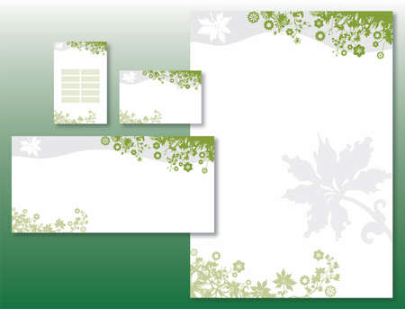 Corporate Identity Set - Flower Border in Green and Gray. Contains Letterhead, Business Card, Info Card and Schedule Card Templates Illustration