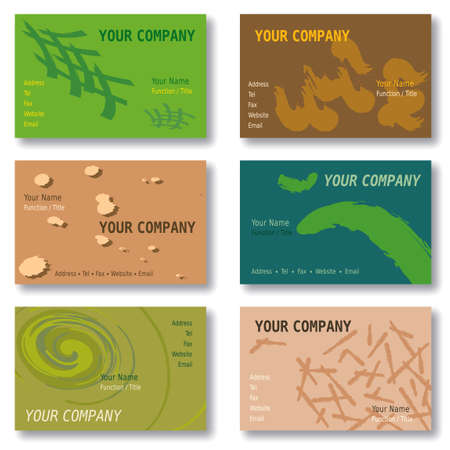 Set of 6 Business Cards in Green, Brown and Blue. Abstract Patterns. Available in Vector Format