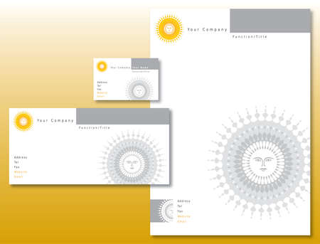 Corporate Identity Set - Sun Logo in Yellow. Contains Letterhead and Business Card. Available in Vector Format