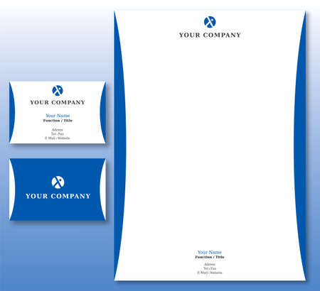 Corporate Identity Set - Abstract Logo in Blue. Contains Letterhead and Business Card. Available in Vector Illustration