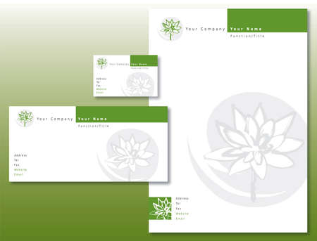 Corporate Identity Set - Lotus Flower Pattern in Green and Gray. Contains Letterhead, Business Card and Info Card Templates. Available in Vector