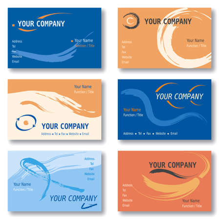 Set of 6 Business Cards in Orange and Blue. Abstract Patterns. Available in Vector Illustration Ilustração