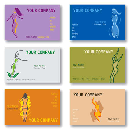 Set of 6 Business Cards - Woman - Body - Wellness - Health - Sports. Available in Vector Format