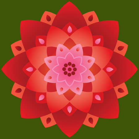 Single Mandala in Lotus Shape Red and Pink Colors on Background. Vector