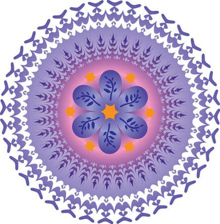 Single Mandala with Abstract Foliage Stars in Purple Orange Colors. Vector Illustration