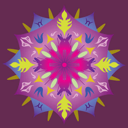 Single Mandala with Abstract Foliage Stars in Rainbow Colors. Vector