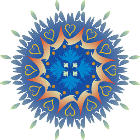 Single Mandala with Foliage Hearts in Green and Blue Colors. Vector
