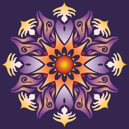Single Mandala - Abstract Geometry Shapes in Violet Orange Colors on Background. Vector
