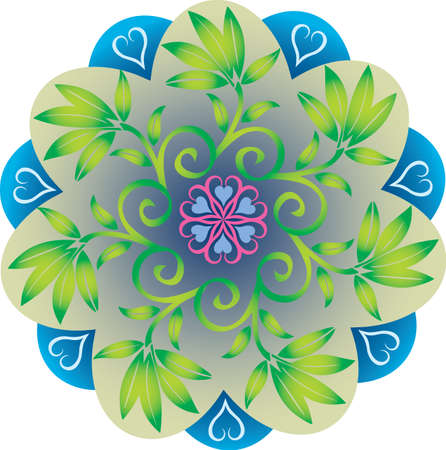 Single Mandala with Foliage Leaves Hearts Natural Green and Blue Colors. Vector