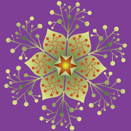 Single Mandala - Flower, Nature, Energy Symbol in Green Violet Colors. Vector Format