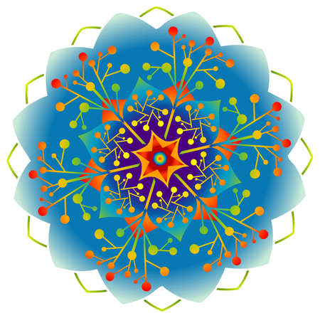 Single Mandala - Flower / Nature / Energy in Rainbow Colors. Vector