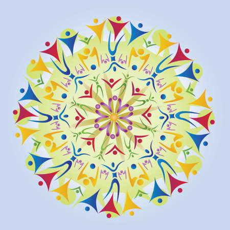Mandala made of Body Icons / Silhouettes. Multicolored. Vector Format