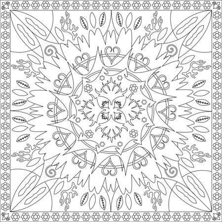 Coloring Page Book with Blank Spaces for Adults - Floral Mandala Design - Vector Illustration