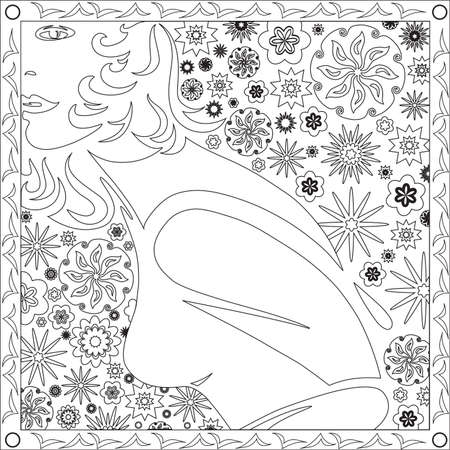 Coloring Page Book with Blank Spaces for Adults - Face Girl Flower Design - Vector Illustration  イラスト・ベクター素材