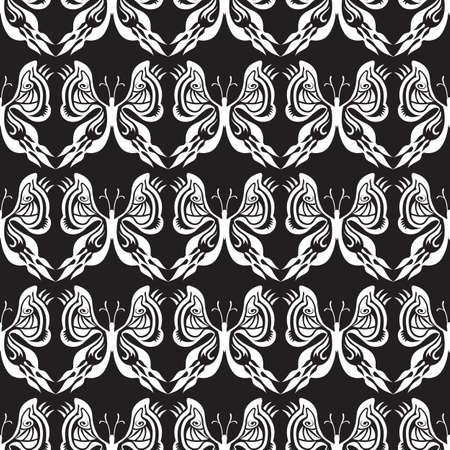 Butterfly Seamless Pattern in Black and White, Background with Optical Illusion - Vector