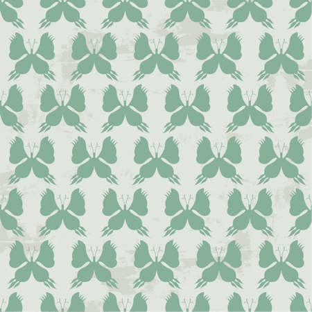 Butterfly Seamless Pattern - Green Colors on Grunge Background - Vector