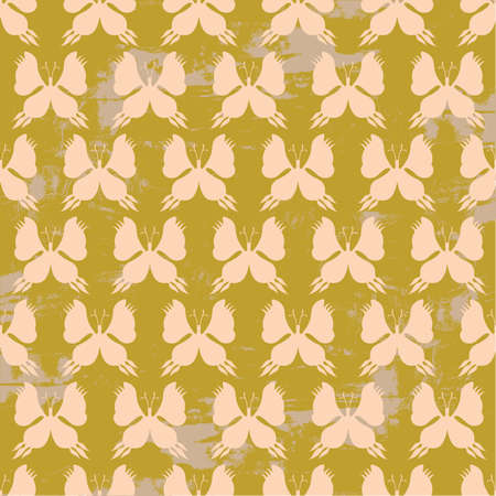 Butterfly Seamless Pattern - Beige and Brown Colors on Grunge Background - Vector