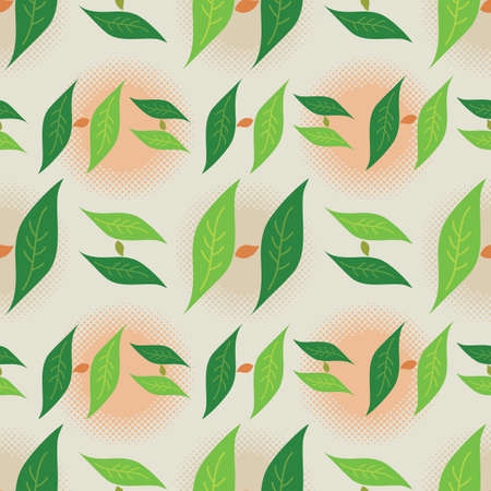 Foliage Leaf Seamless Pattern, Letter H Monogram in Green Colors - Vector