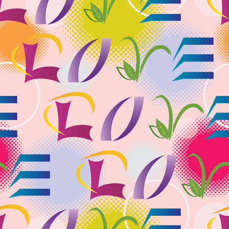 LOVE Letters Seamless Pattern - Multiple Colors - Vector Illustration
