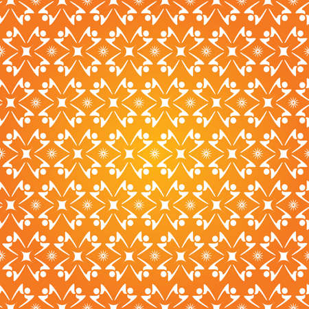 People shaped Silhouettes Stars Seamless Pattern - Orange and White Colors - Vector
