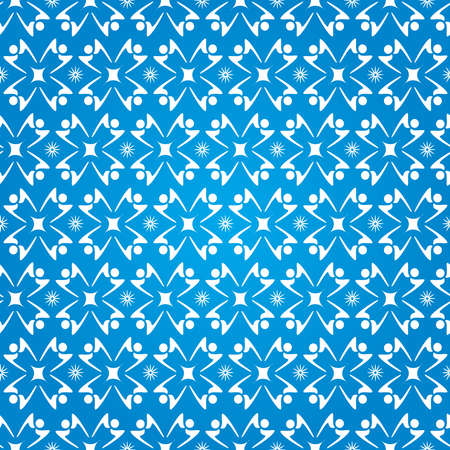 People shaped Silhouettes Stars Seamless Pattern - Blue and White Colors