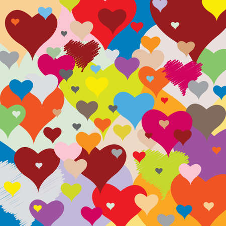 Pattern with Hearts - Multicolored - Joyful Accumulation - Vector Illustration