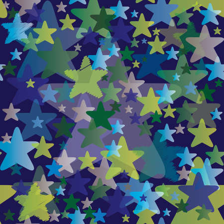 Seamless Pattern with Stars - Night Sky Background - Vector Illustration